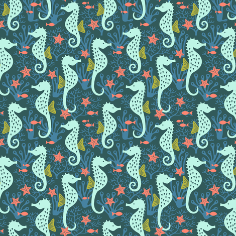 Seahorse in coral reef navy (small) fabric by heleen_vd_thillart on Spoonflower - custom fabric