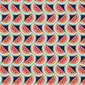 Picnic* (Jackie Blue) || watermelon fruit 80s pastel geometric scales summer food seeds