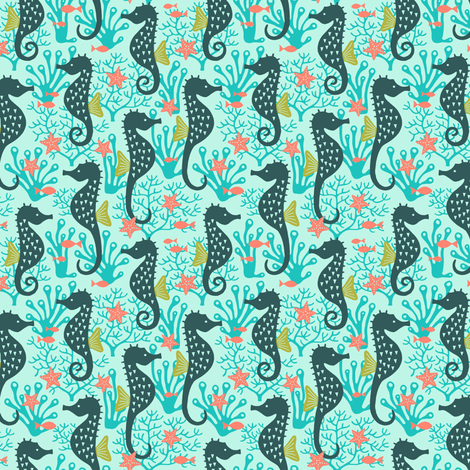 Seahorse in coral reef turquoise (small) fabric by heleen_vd_thillart on Spoonflower - custom fabric