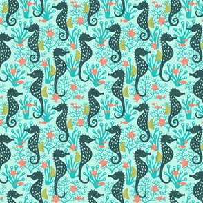 Seahorse in coral reef turquoise (small)