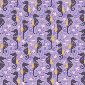 Seahorse in coral reef purple (small)