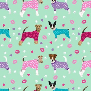 terriers in pyjamas fabric dogs in clothes cute rat terrier, jack russell terrier, welsh terrier, wire fox terrier