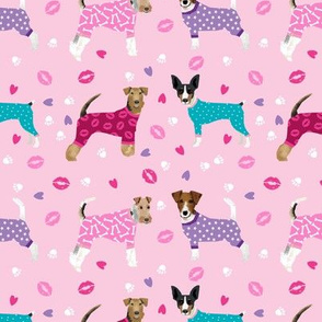 terriers in pyjamas fabric dogs in clothes cute rat terrier, jack russell terrier, welsh terrier, wire fox terrier - pink