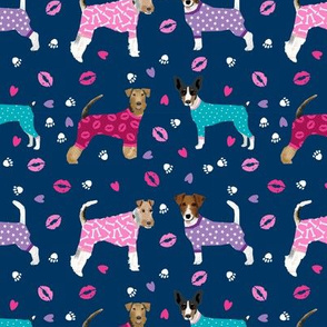 terriers in pyjamas fabric dogs in clothes cute rat terrier, jack russell terrier, welsh terrier, wire fox terrier - navy