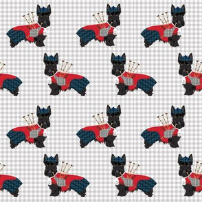 scottie dog with bagpipes fabric - cute scottish terrier design tartan - grey