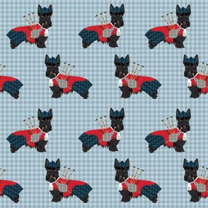 scottie dog with bagpipes fabric - cute scottish terrier design tartan - blue
