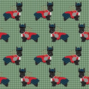 scottie dog with bagpipes fabric - cute scottish terrier design tartan - green
