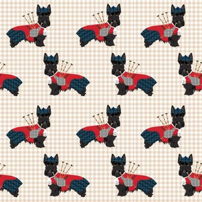 scottie dog with bagpipes fabric - cute scottish terrier design tartan - sand