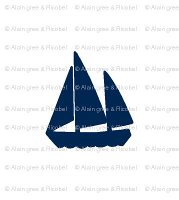 Navy Blue Sail Boats / Yachts on White Background - Alain Gree