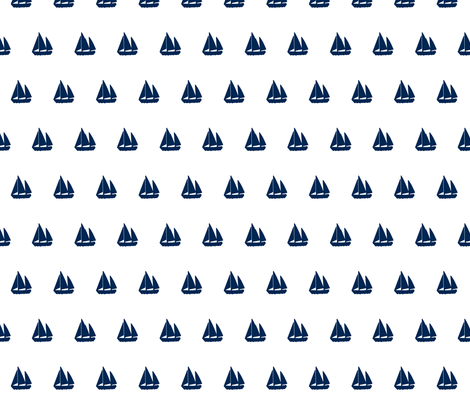 Navy Blue Sail Boats / Yachts on White Background - Alain Gree fabric by ricobel on Spoonflower - custom fabric