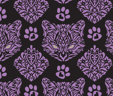 Cat Damask Dark  fabric by mariafaithgarcia on Spoonflower - custom fabric