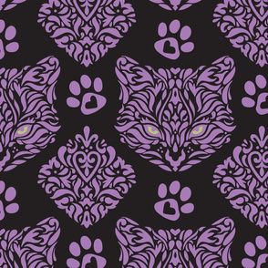 Cat Damask Dark