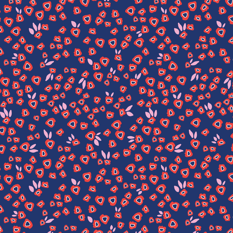 Poppy patches in blue fabric by lburleighdesigns on Spoonflower - custom fabric