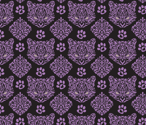 Cat Damask Dark - Small fabric by mariafaithgarcia on Spoonflower - custom fabric