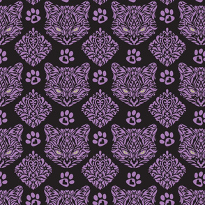 Cat Damask Dark - Small