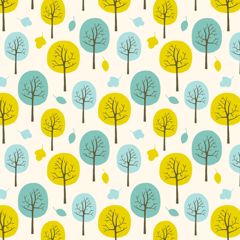 Autumn trees in the park (small) fabric by heleen_vd_thillart on Spoonflower - custom fabric
