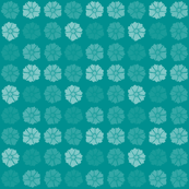 Flat Flowers Turquoise