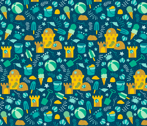 Sandcastles at the beach navy fabric by heleen_vd_thillart on Spoonflower - custom fabric