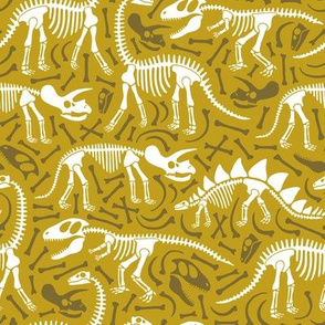 Dinosaurs and bones (ochre and brown)