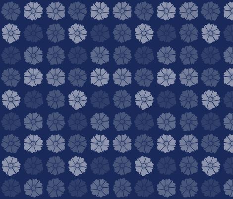 Flat Flowers Navy fabric by washburnart on Spoonflower - custom fabric