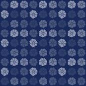 Flat Flowers Navy