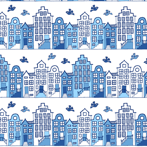 Dutch street blue and white (small) fabric by heleen_vd_thillart on Spoonflower - custom fabric
