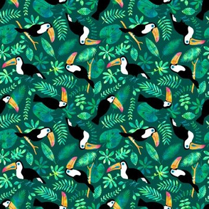 Toucan jungle watercolor green (small)