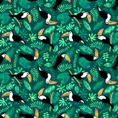 Toucan jungle watercolor green (small)