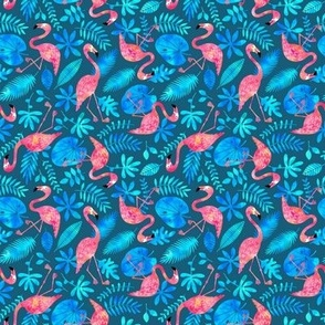 Flamingo jungle watercolor blue (small)