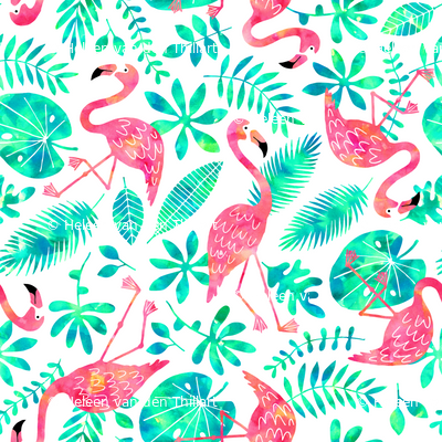 Flamingo jungle watercolor white mint