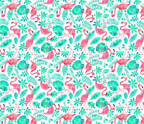 Flamingo jungle watercolor white mint fabric by heleen_vd_thillart on Spoonflower - custom fabric
