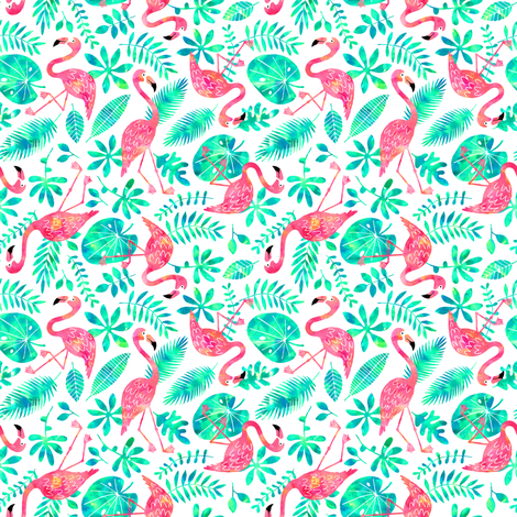 Flamingo jungle watercolor white mint (small) fabric by heleen_vd_thillart on Spoonflower - custom fabric