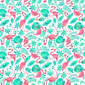 Flamingo jungle watercolor white mint (small)
