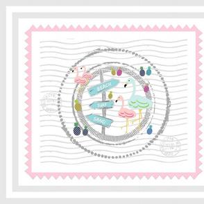 flamingo beach stamp 20fq -pink w border gray