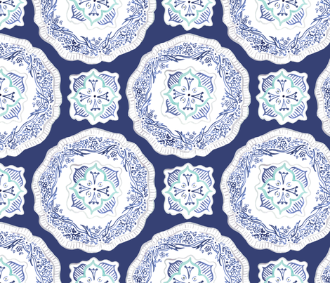 Plates - Navy fabric by jillbyers on Spoonflower - custom fabric