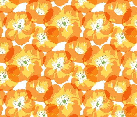 Big Poppies - orange fabric by jillbyers on Spoonflower - custom fabric