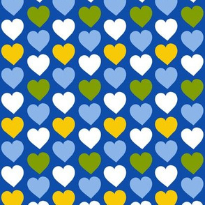 Folk Art Hearts on Blue