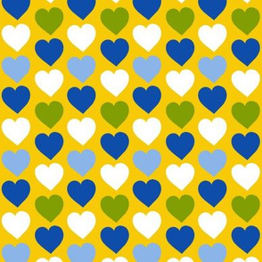 Folk Art Hearts on Yellow