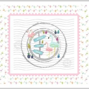 flamingo beach stamp pink border -  tea towel fq 42