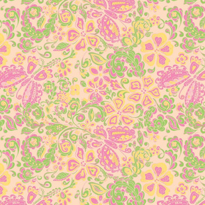 butterfly floral pink, green and orange