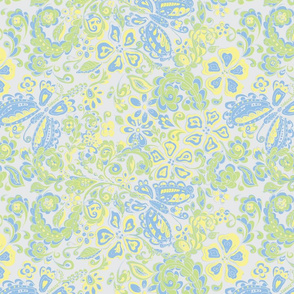 butterfly floral blue green yellow