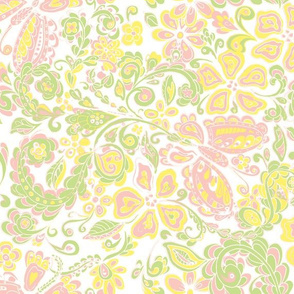 butterfly floral pale pink green