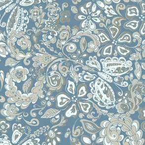 butterfly floral blue and grays