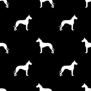 Great Dane silhouette dog fabric black