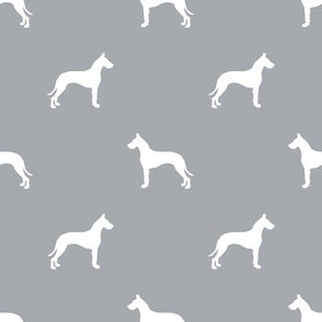 Great Dane silhouette dog fabric grey