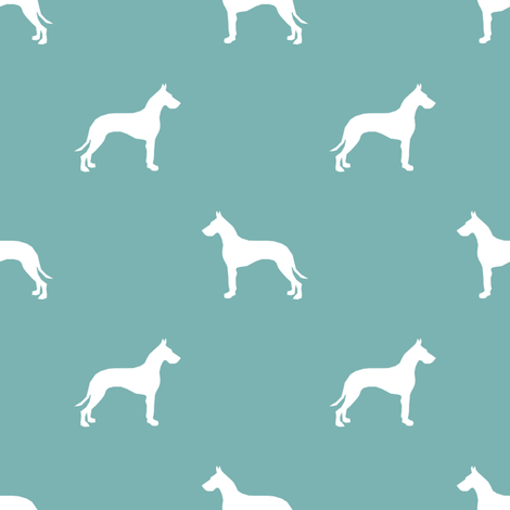Great Dane silhouette dog fabric gulf blue fabric by petfriendly on Spoonflower - custom fabric