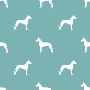 Great Dane silhouette dog fabric gulf blue