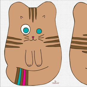 Cute Brown Cat Doll Cut and Sew Pattern Fabric