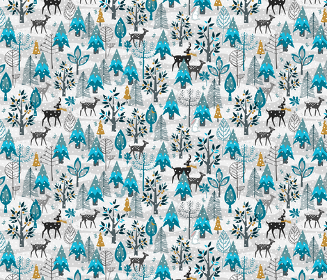 Winter Snow Woodland Animals - Gold fabric by mariafaithgarcia on Spoonflower - custom fabric