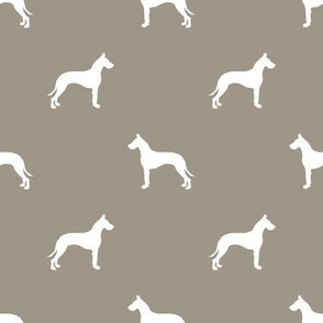 Great Dane silhouette dog fabric med brown
